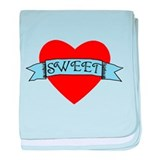 SWEET Blue Banner Red Heart baby blanket