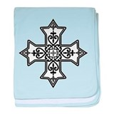 Black and White Coptic Cross baby blanket