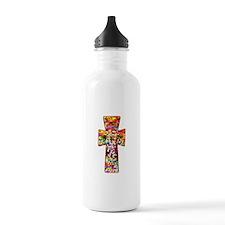Pretty Stained Glass Look Cross Sports Water Bottle