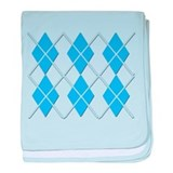 Blue on Blue Argyle Design baby blanket