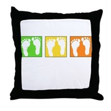 Baby Block Footprint Throw Pillow