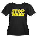 Stop Wars Women's Plus Size Scoop Neck Dark T-Shir