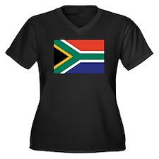 South Africa Flag Women's Plus Size V-Neck Dark T-