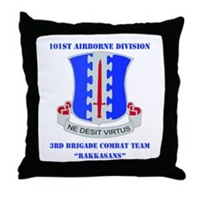 DUI - 3rd BCT - Rakkasans with Text Throw Pillow