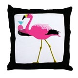 Pink Flamingo Drinking A Martini Throw Pillow