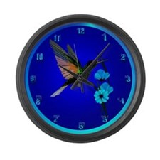 Green Hummingbird-Blue Flower Large Wall Clock