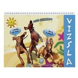 Hungarian Vizsla Cartoon Wall Calendar