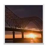 The Arkansas Tennessee Memphis Bridge Tile Coaster
