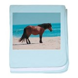 Wild Pony on Beach baby blanket