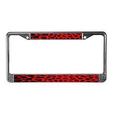 Red & Black Leopard Print License Plate Frame