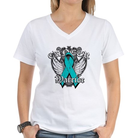 Ovarian Cancer Warrior Women's V-Neck T-Shirt