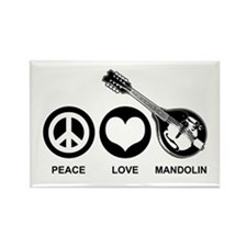 Peace Love Mandolin Rectangle Magnet