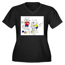 Croquet Cats Women's Plus Size V-Neck Dark T-Shirt
