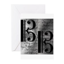 Alto Clef on Silver Greeting Cards (Pk of 10)