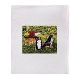 Bernese Mountain Dog Flower C Throw Blanket