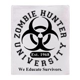 A Zombie Hunter University Throw Blanket