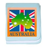 Australia Map and Flag baby blanket