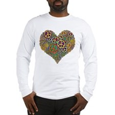 Cool Peace Sign Heart Long Sleeve T-Shirt