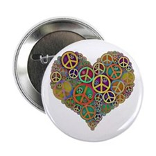"Cool Peace Sign Heart 2.25"" Button (10 pack)"