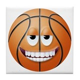 Basketball 2 Smiley Face Tile Coaster