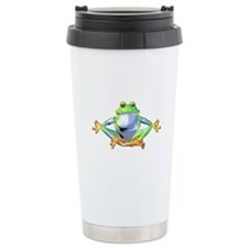 Meditating Frog Ceramic Travel Mug