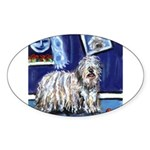 BERGAMASCO SHEEPDOG smiling m Oval Sticker