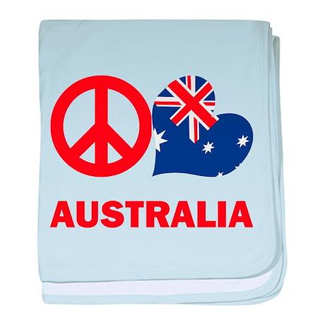 Peace Love Australia baby blanket