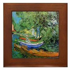 Van Gogh Bank of the Oise Ceramic Art Framed Tile