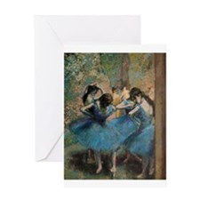 Dancers in blue by Edgar Degas Greeting Cards