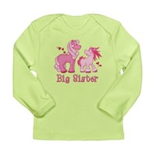 Pink Ponys Big Sister Long Sleeve Infant T-Shirt