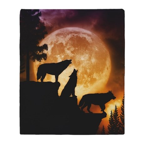 Wolves Peak Throw Blankets / Covers
