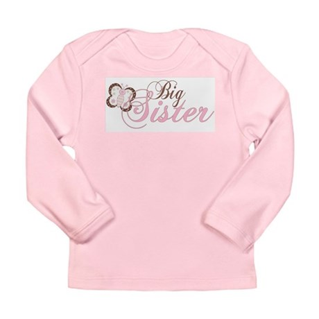 Pink Butterfly Big Sister Long Sleeve Infant T-Shi