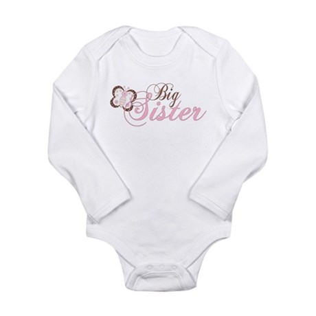 Pink Butterfly Big Sister Long Sleeve Infant Bodys