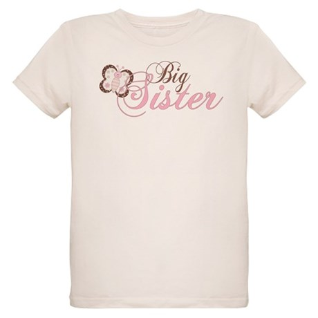 Pink Butterfly Big Sister Organic Kids T-Shirt