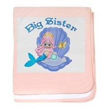 Lil Mermaid Big Sister baby blanket