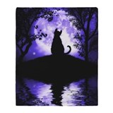 Rosalie's Moon Cat Throw Blanket / Cover