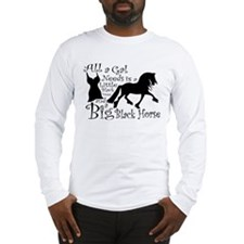 Big Black Horse Long Sleeve T-Shirt