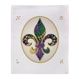Fleur de lis Mardi Gras Beads Throw Blanket