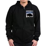 Bison Yellowstone National Pa Zip Hoodie (dark)