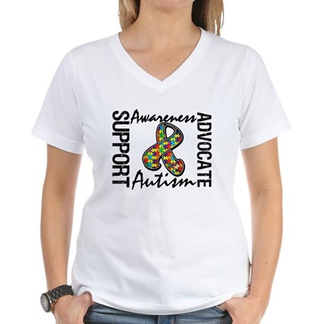 Autism Support Ribbon Women's V-Neck T-Shirt