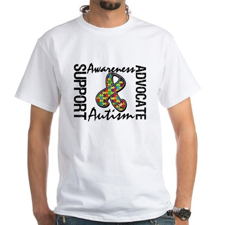 Autism Support Ribbon White T-Shirt