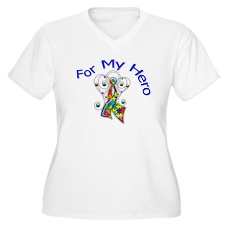 Autism For My Hero Women's Plus Size V-Neck T-Shir