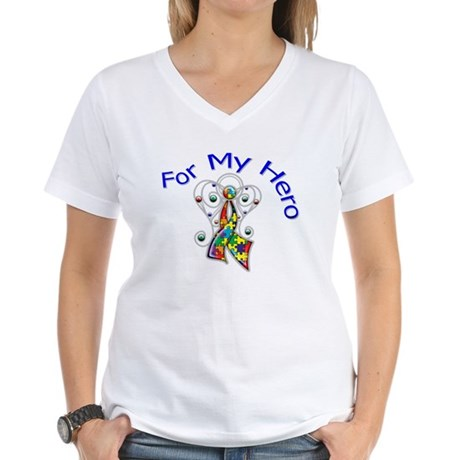 Autism For My Hero Women's V-Neck T-Shirt