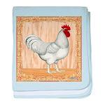 Gold Framed Rooster baby blanket