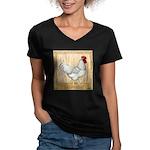 Gold Framed Rooster Women's V-Neck Dark T-Shirt