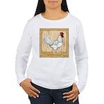 Gold Framed Rooster Women's Long Sleeve T-Shirt