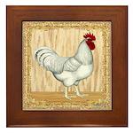 Gold Framed Rooster Framed Tile