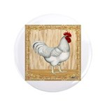 "Gold Framed Rooster 3.5"" Button (100 pack)"