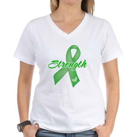 Strength - Bile Duct Cancer Women's V-Neck T-Shirt