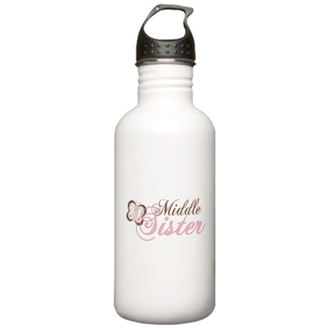 Pink Butterfly Middle Sister Stainless Water Bottl